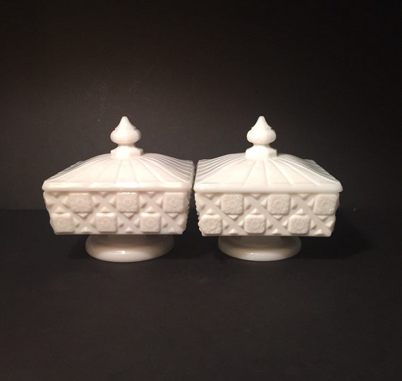 Pair of Vintage Milk Glass White Candy Dishes with Floral Pattern and Lids