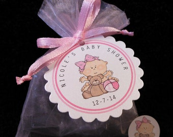 Personalized Baby Girl Baby Shower Favor Candy Bags, Baby Girl With Teddy and Ball Includes Tags Candy Stickers Pink Organza Bags, Set Of 40