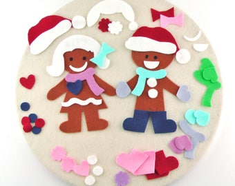 Felt Board Gingerbread Cookies, Quiet Travel Game, Montessori Travel Toy, Travel Toy Christmas Gift, Christmas Activity Gift, Quiet Felt Toy