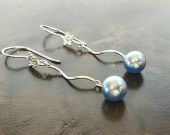 Blue Dangle Earrings, Pearls Earrings, Swarovski Earrings, Drop Earrings, Silver Earrings,Holiday Gift for HerHoliday Gift for Her