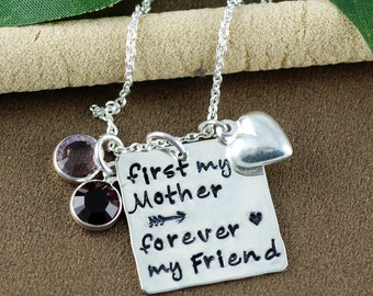 First My Mother Forever My Friend Necklace, Hand Stamped Necklace, Personalized Mom Necklace, Mother's Necklace, GIft for Mom