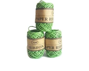 Rafia ribbon paper grass rope rafi 10m gift packaging yarn eco friendly green