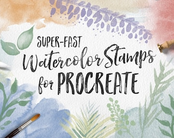 Watercolor Stamp Brush Bundle for Procreate App for iPad Pro - Great for Lettering Projects and Instagram!