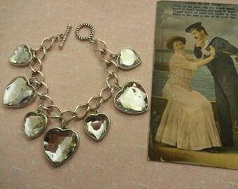 Heart T Bar Bracelet, T Bar Chain Bracelet, Charm Bracelet, Heart Charm Bracelet, Silver T Bar Bracelet
