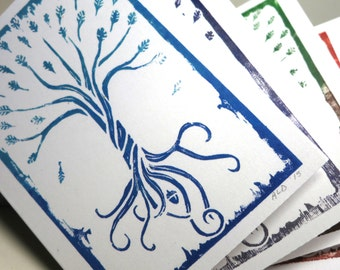 The Oak Tree note card set ... set of 4 oak tree prints / matte linen paper / blank note card