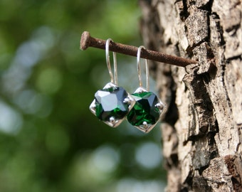 Silver Earrings,Green CZ  Earrings, Handmade Earrings, Silver Earrings, Green Stone Earring,