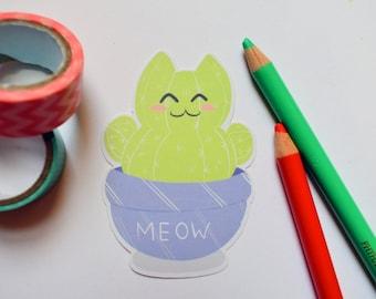 Cactus Cat Sticker - Single Sticker - Cute Cactus Sticker, Cat Sticker, Cactus Sticker, Catcus, Pun Sticker, Adorable Sticker, Kawaii, Plant