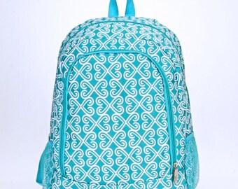 Aqua Swirl Monogram Backpack   Monogram Book Bag    Book Carrier   Campus Must Have   Back to School   Birthday Gift   Blue Swirly Bag