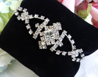 Gorgeous Faceted Rhinestone Bracelet with Square and Round Faceted Rhinestones - Bridal Prom Cotillion Special Occasion Jewelry