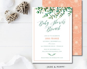 Jade & Poppy Printed Baby Shower or Birthday Invitation | Printed or Printable by Darby Cards