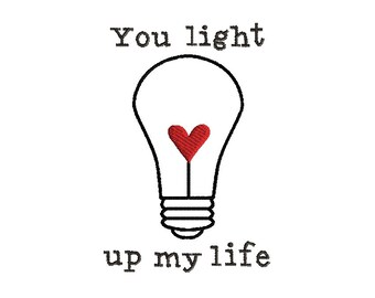 Valentine Light Bulb Outline Stitch Machine Embroidery Design-INSTANT DOWNLOAD