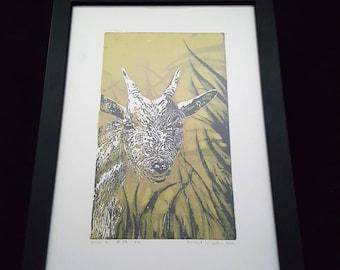 Giraffe - Print from original woodcut by south-tyrolean artist Herbert Lampacher