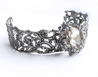 Victorian Choker Bridal Choker Gothic Jewelry Silver Metal choker Swarovski Crystal Choker necklace Victorian Jewelry nickel free jewelry