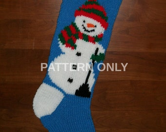 PDF Pattern Only Hand Knitted Snowman with Scarf Christmas Stocking