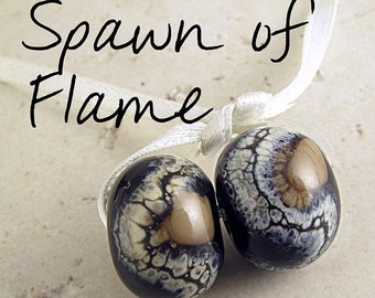 Glass Bead Handmade Lampwork Pair 14x11mm Frosted Etched Black and Tan