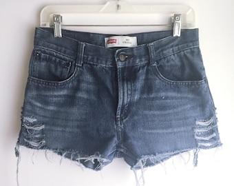 High Waisted Levi's Jean Shorts Cutoffs Size 30