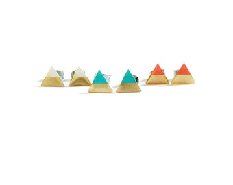 triangle earrings, hand painted on brass