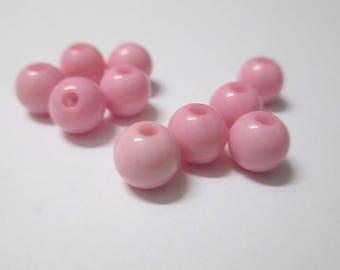 10 6mm pink acrylic beads