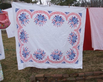 Vintage Tablecloth Poppies Denim Blue Coral Maroon Vintage Kitchen Tablecloth