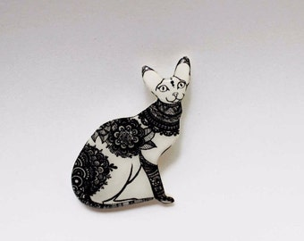 White and black Cat gifts for her Cat jewelry for wife Valentines day gift for girlfriend Jewelry for women jewelry for daughter cat pin