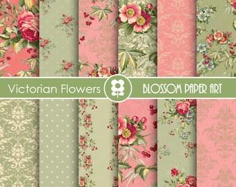 Floral Digital Paper, Roses Digital Paper Pack, Wedding, Scrapbooking, Roses, Pink, Green - INSTANT DOWNLOAD  - 1693