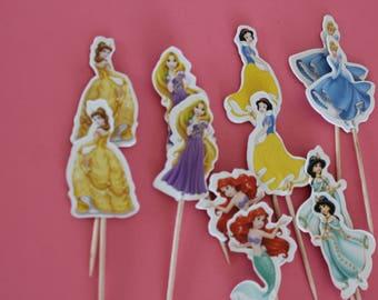 Princess cupcakes toppers, princess party decor,  set of 12