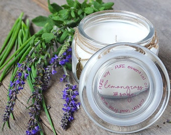 Lemongrass and Sage Candle - Natural Essential Oil Candle - Soy Candles - Glass Jar Candles - Aromatherapy - Natural Candles - Hand Poured