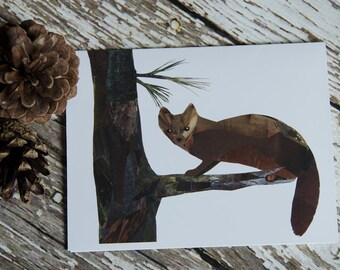 Pine Marten Greeting Card of Original Collage