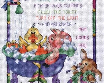 Cross Stitch Kit - BATHTIME RULES - Janlynn Counted Cross Stitch Kit, Bubble Bath Needlework Kit, bathroom cross stitch bath time