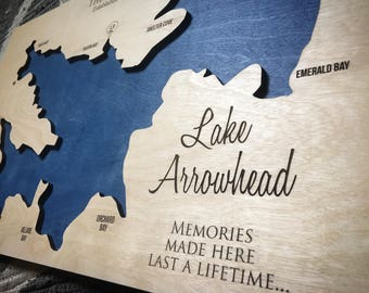 Lake Arrowhead, California 3-D Lake Sign - Handmade Custom 3-d Wood Map with Compass and Lake Name Engraved - North Idaho Made
