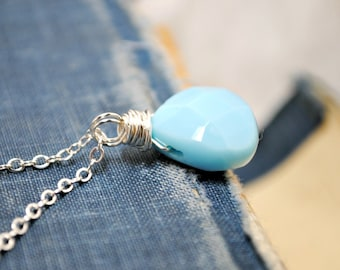 Light Turquoise, Pendant Necklace, Layering Necklace, Charm Necklace, Dainty Necklace, Long and Layering, Sterling Silver, Briolette Charm