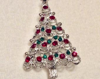Christmas tree brooch pin silver tone metal red green rhinestones.