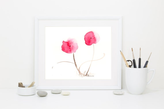 "Watercolor flower print of red poppies: ""Dancing Poppies"""