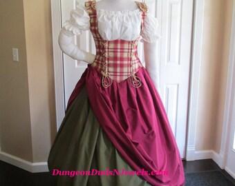 DDNJ Choose Fabrics 4pc Renaissance Corset Style Underbust Bodice Chemise Skirts Plus Custom Made Any Size Pirate Medieval Wench Costume SCA