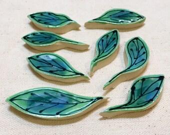 Dogwood Leaves Handmade Ceramic Mosaic Tile Pack