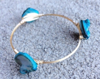 Silver Wire Wrapped Bangle with Blue Stones, Bourbon and Boweties Inspired Bangles