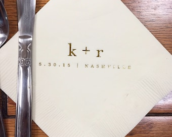 Monogrammed Napkins | Ampersand | Wedding or Personalized Home Gift | Darby Cards