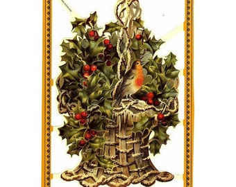 England Paper Scraps Die Cut Embossed Victorian Bird In Christmas Holly Basket  A-177