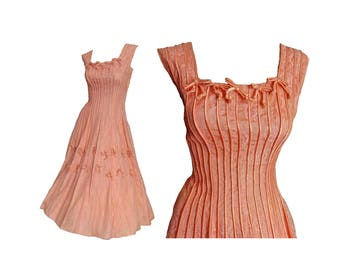Vintage 1950s Party Dress Lace Pink Wedding Gown Fit and Flare Prom Dress Sleeveless Salmon Pink with Bows