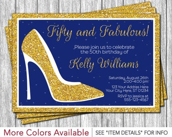 Fifty and Fabulous Birthday Invitation | High Heels, Fancy, Sparkle, Royal Blue and Gold, 50 and Fantastic, 50th Birthday Invitation