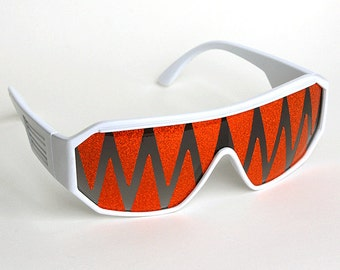 Rasslor White and Orange Shark Teeth Shield Sunglasses