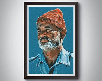 Bill Murray as Steve Zissou Inspired Art Poster Print, Bill Murray as Steve Zissou Movie Poster