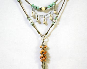 Two-Strand Bohemian Green and Orange Adventurine Necklace, Boho Necklace, Dangling and Cascading, Bugle Bead Necklace, Feather Necklace