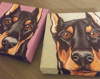 Two Custom Pet Portrait Paintings 6x6 handpainted