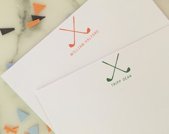 Golf Stationary - Personalized Stationery Set of 20 Flat Note Thank You Cards
