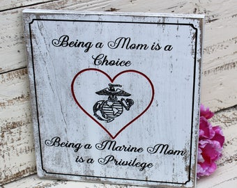USMC Mom - Marine Corps Mom - Engraved Wood Sign - Mothers Day Gift - Gift for Mom - Rustic Wood Sign - Rustic Wood Sign - Carved Wood Sign
