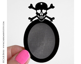 2pcs Smitten Skull and Crossbones Settings - for 40x30mm Cameo - Laser Cut - (Select the COLOR and if you want them with Holes or No Holes)