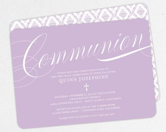First Communion Invitation, First Holy Communion Invitation, Religious, Print, PDF, DIY Communion Invite, Damask, Calligraphy, Purple, Quinn