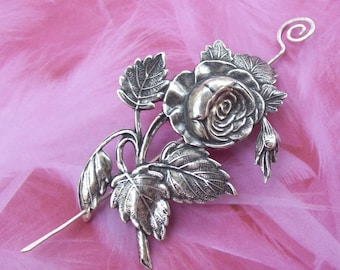Rose Shawl Pin, Flower Scarf Pin, silver shawl pin, oxidized, victorian, silver filled, spring fashion, leaf, floral