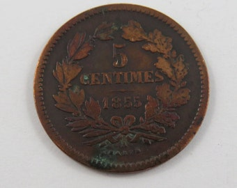 Luxembourg 1855 A 5 Centimes Coin.